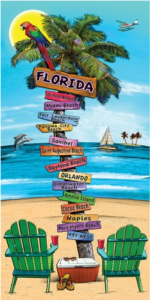 Florida Beach Sign Towel