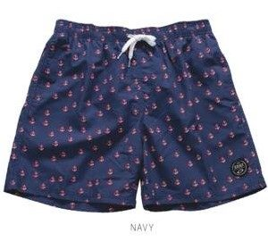 Anchor Print Navy Swim Trunks