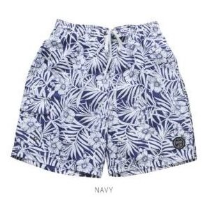 Tropical Printed Navy Swim Trunks