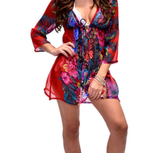 Flower Chiffon Red CoverUp