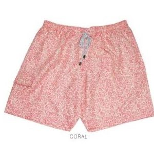Small Plain Coral Flower Print Swim Trunks