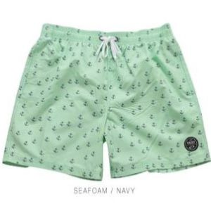 Anchor Print Sea Foam Swim Trunks