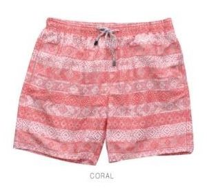Coral Striped Swim Shorts