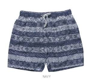 Navy Striped Swim Shorts