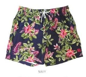 Tropical Pink Flower Navy Swimwear Shorts