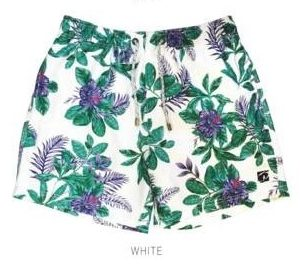 Tropical Purple Flowers White Swimwear Shorts