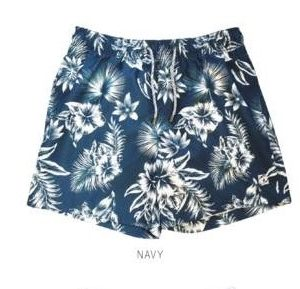 Men's Swim Trunks Hawaiian Flowers Navy