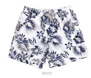 Men's Swim Trunks Hawaiian Flowers White
