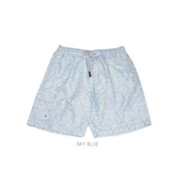 Small Plain Sky Blue Flower Print Swim Trunks