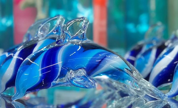Blue Layered Glass Dolphin