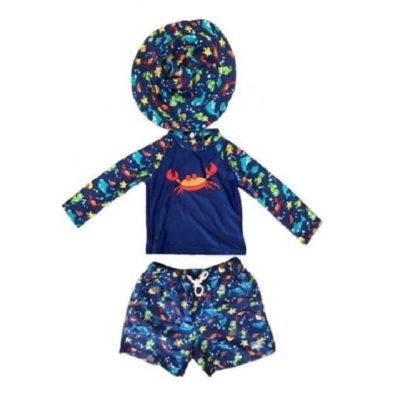 Boy's Toddler Rash Guard Set Crab