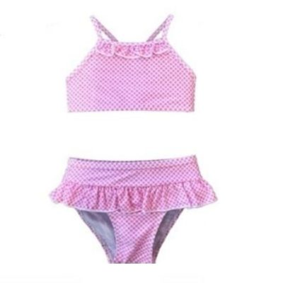 Girl's Pink Polka Dots Two Piece Swim Suit K686-4