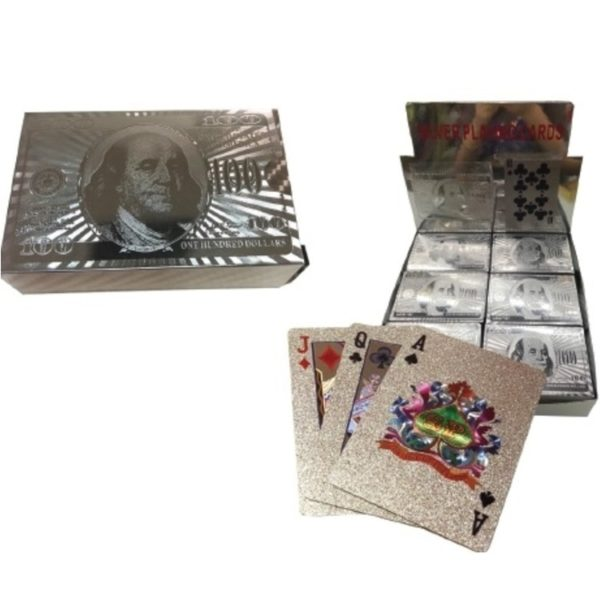 $100 Bill Silver Playing Cards
