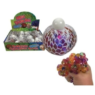 "4"" Light Up Rainbow Bead Squeeze Mesh Ball"