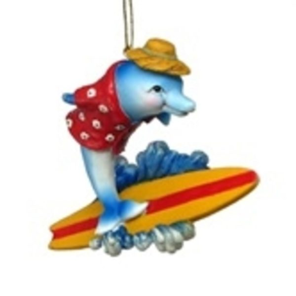 "3.5"" Dolphin Surfing Ornament"