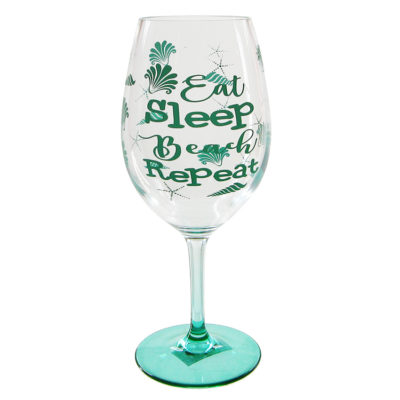 Eat Sleep Beach Repeat Wine Glass